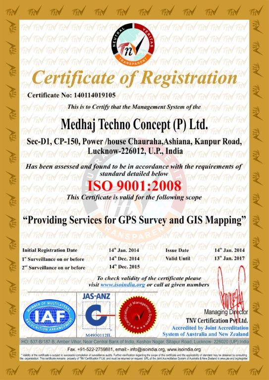 ISO 9001:2008 certficate for MTCPL